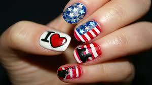 nail art designs 4th of july nail art usa flag youtube