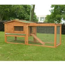 Rabbit Hutch With Large Run Pawhut Wooden Rabbit Hutch Cage Bunny House Chicken Coop Habitats