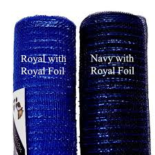 royal blue with royal blue metallic foil deco poly mesh 21