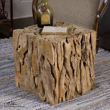 teak wood end table uttermost reclaimed teak root wood bunching cube accent end table
