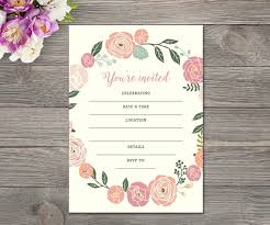Blank Invitations Pastel Flower Fill In The Blank Invitation 5x7 Hand Write