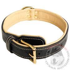 Comfortable Dog Collar Nappa Padded Leather Siberian Husky Collar For Walking And