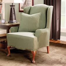 Sage Color by Stretch Stripe Wingback Chair Slipcover Sage Color Solid Pattern