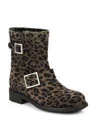 slip on biker boots jimmy choo leopard print suede biker boots in natural lyst