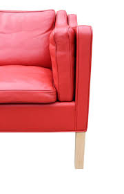 Red Leather 2 Seater Sofa Danish 2212 Two Seater Sofa By Børge Mogensen For Fredericia