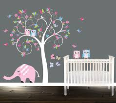 Nursery Owl Wall Decals Swirling Owl Wall Decal Nursery Tree Pink Blue Owls Tree Birds