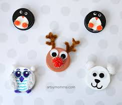 recycled bottle cap winter animal ornaments