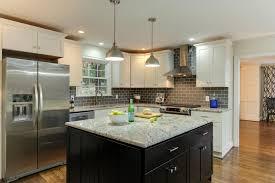white kitchen cabinets with black subway tile backsplash stylish contemporary kitchen with gray subway tile
