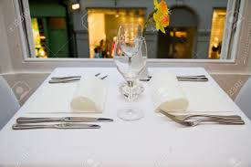 Table Setting by Restaurant Table Setting For Two People Stock Photo Picture And