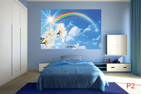 mural blue sky with a rainbow and flowers wallpapers mural blue sky with a rainbow and flowers