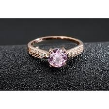 pink crystal rings images Classic diamond rose gold pink crystal ring jpg