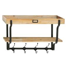 furniture un varnish wood and black iron wall coat shelf also