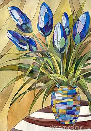 Flower Glass Design Decorative Painting Abstract Flowers In A Vase With Geometric