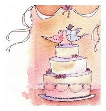 Wedding Wishes Cake Wedding Greeting Card Wedding Cake Doves Watercolor Painting