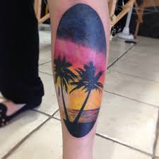 30 sunset view palm tree tattoos