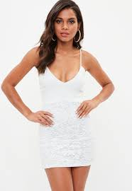 white bodycon dress white strappy plunge lace bodycon dress missguided