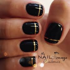 simple black gel manicure with gold strip nail art pinterest
