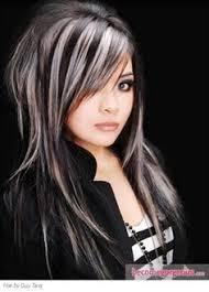 grey streaks in hair dark hair gray streaks google search hair pinterest gray