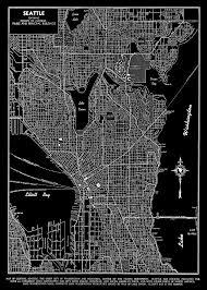 Map Of Lake Washington seattle seattle map art poster seattle street map black