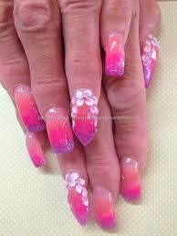 sculptured acrylics with orange pink and purple acrylic fade with