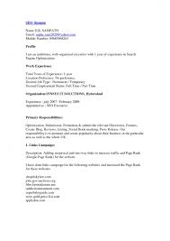 Seo Resume Sample Cv For The Post Of Content Writer Resume Template Example