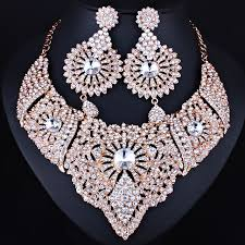 indian bridal necklace sets images Farlena jewelry clear crystal necklace and earrings set for women jpg