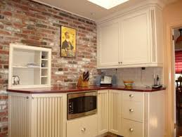 Faux Brick Kitchen Backsplash by White Kitchen With Brick Backsplash Thin On Faux Brick Backsplash