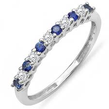 stackable wedding bands 10k white gold white diamond blue sapphire