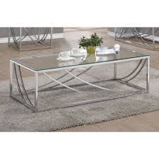 coaster 720498 coffee table in chrome local furniture outlet