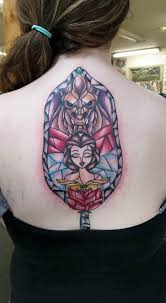 stained glass beauty and the beast done by melanie allen at