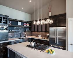 kitchen grey kitchen countertops oval hanging lamps brown
