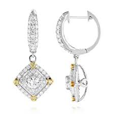 diamond earrings designs unique 14k gold white and yellow diamond earrings for women drop