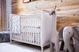gray french nailhead crib with oversized wool felt elephant