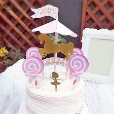 Horse Birthday Decorations 2017 Direct Selling Sale 2pcs 1 Set Carousel Horse Cake Topper