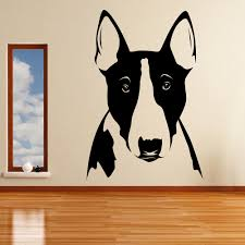 plus cute animal wall stickers for bedroom bull terrier portrait