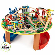 wooden train set table kidkraft 17985 city explorer s train set and table including 80