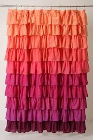 Ruffled Pink Curtains Multi Colored Ruffle Shower Curtain Curtain Gallery Images