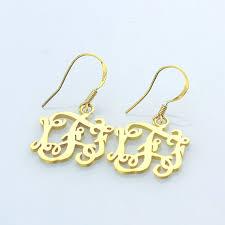Gold Monogram Earrings Gold Monogram Earrings Gold Name Earrings By Bestnameplatejewelry