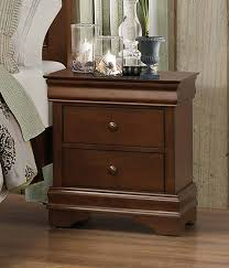homelegance abbeville night stand hidden drawer brown cherry