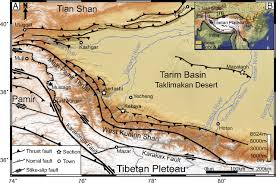 Taklamakan Desert Map Late Oligocene U2013early Miocene Birth Of The Taklimakan Desert