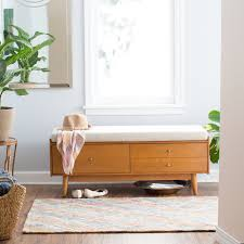 monarch 2 drawer wood storage bench with cushion dark walnut