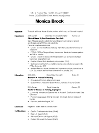 monica brock resume 2012 anesthesia surgery