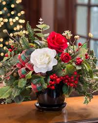 festive roses u0026 holly silk flower centerpiece at petals