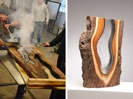 molten glass blowing fused with woods creates dazzling abstract forms