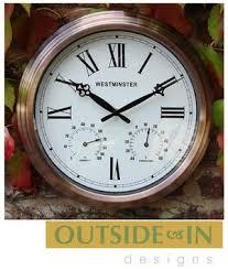 antique copper outdoor garden wall clock u0026 thermometer