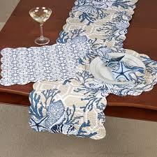 blue and white table runner indigo sound reversible coastal table linens