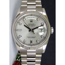 diamond rolex rolex day date president white gold silver diamond 118239 watch