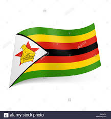 Red White Striped Flag National Flag Of Zimbabwe Narrow Green Yellow Red And Black