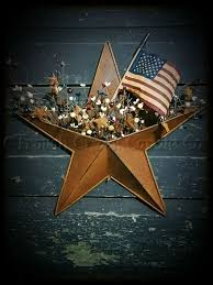 Americana Flags Rusty Tin Star Pocket With Pip Berries U2013 Especially For You Home Decor
