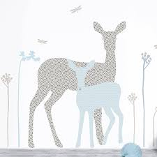 Nursery Stickers Deer And Fawn Nursery Wall Sticker In Blue And Grey By Koko Kids